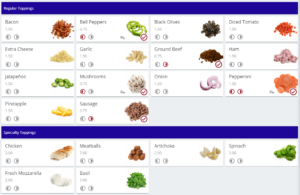 Online Ordering Modifiers Toppings
